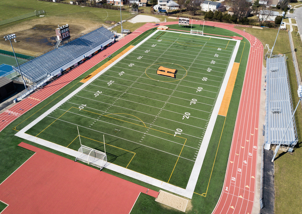 drone view of high school football field