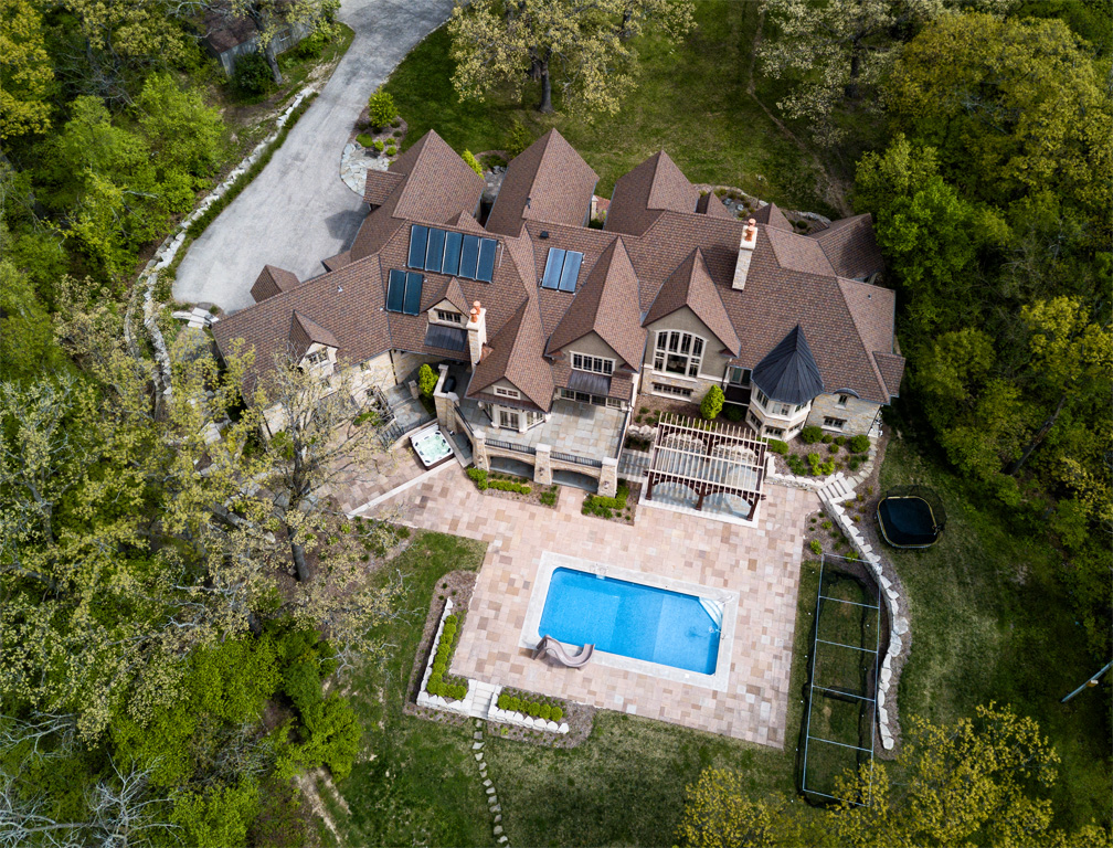birds eye view of home land property